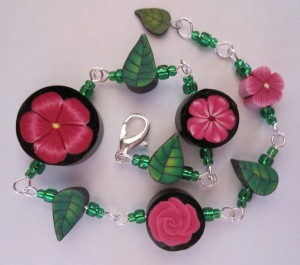 pink flower and leaf bracelet