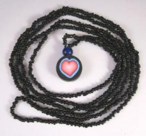 heart cane bead necklace