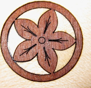 laser cut wooden flower marquetry