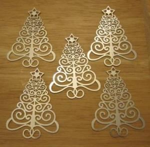 laser-cut filigree Christmas trees