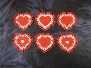 white/red laser cut lacy heart card toppers