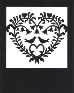 K Vincent scherenschnitte valentine card 2013