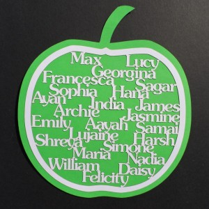 laser-cut apple for the teacher