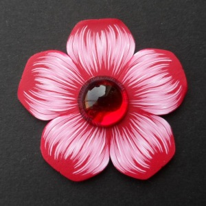 red & white polymer clay flower brooch