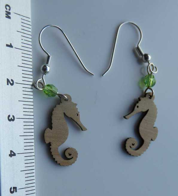seahorse wooden earrings - compressed